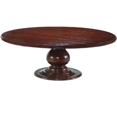 58407 Pedestal Table with Plank Top