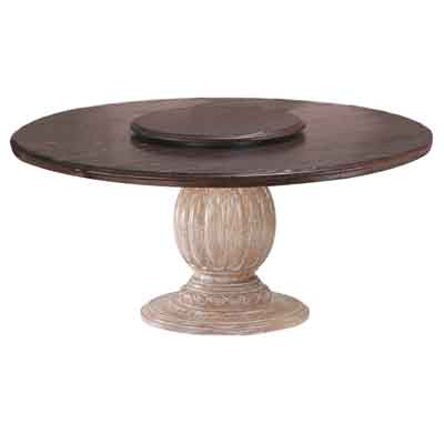 64005 Carved Pedestal with Wood Top