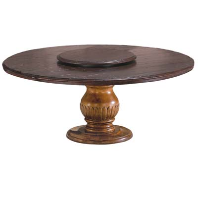 66006 Carved Pedestal with Round Plank Top