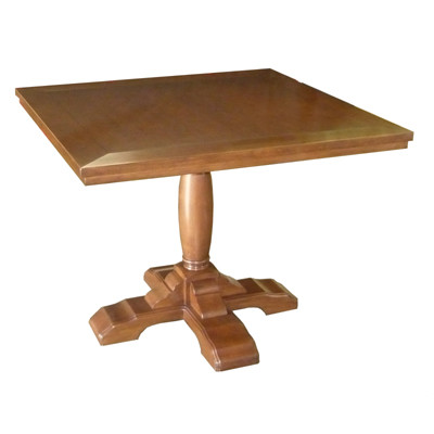Custom Country English Square to Round Pedestal Table