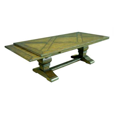 190196DT Draw Top Trestle Dining Table with Inlaid Top