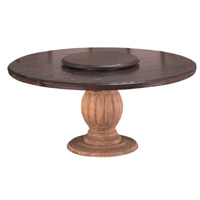 64006 Carved Pedestal with Round Plank Top
