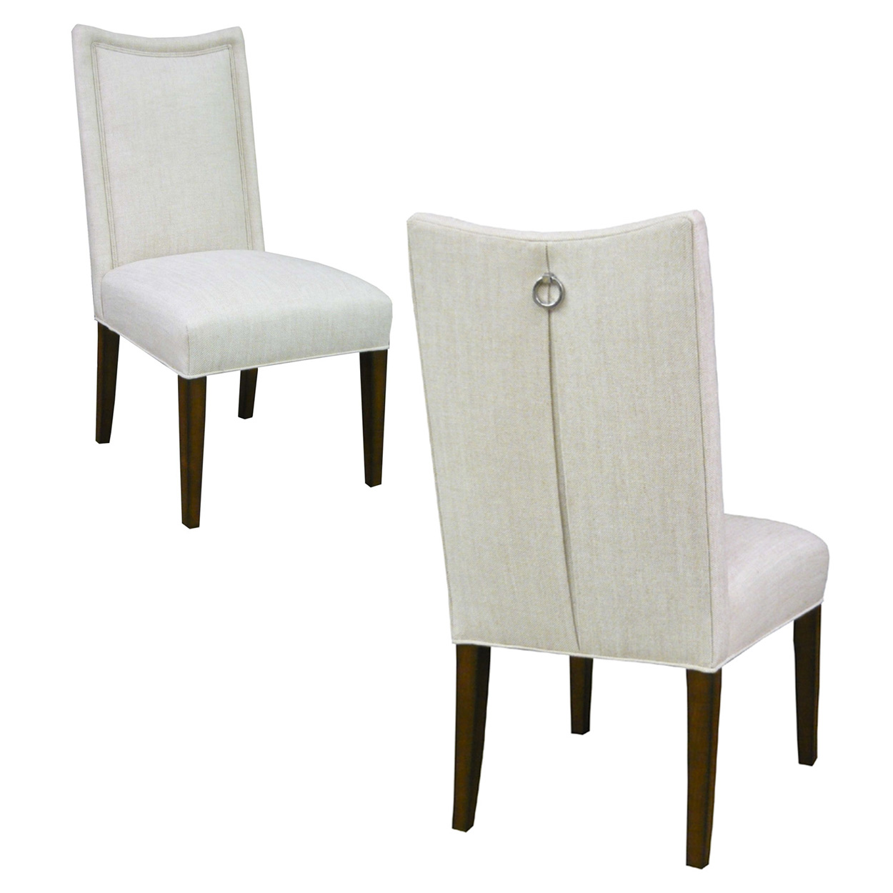 Custom Upholstered Side Chair with Pleated Back + Ring Pull