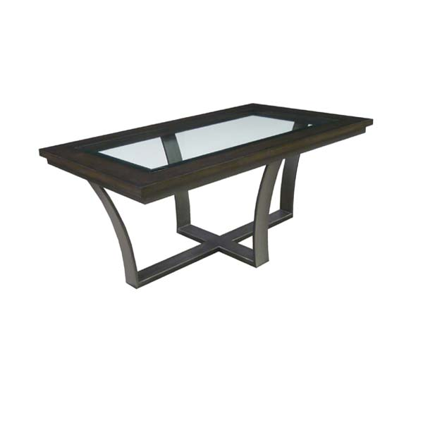 103054 Iron Cocktail Table + Wood Framed Glass Top